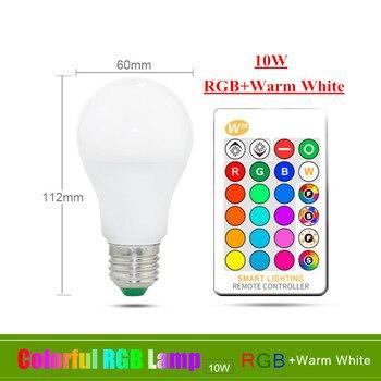 E27 E14 RGB Led Bulb 3W 5W 10W 15W Dimmable 16 Color Changing Magic Bulb Gu10  AC 220V 110V RGB White IR Remote  Night Light C3 16
