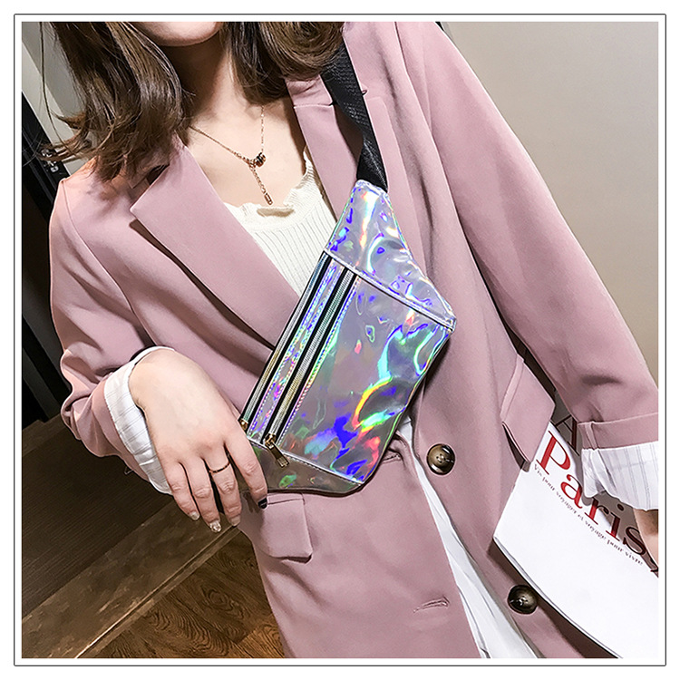 Fashion Women Pink Waist Bag Ultra-thin Casual Laser Storage Bags Phone Case Pouch Popular Bags Popular Protable Diagonle Bag