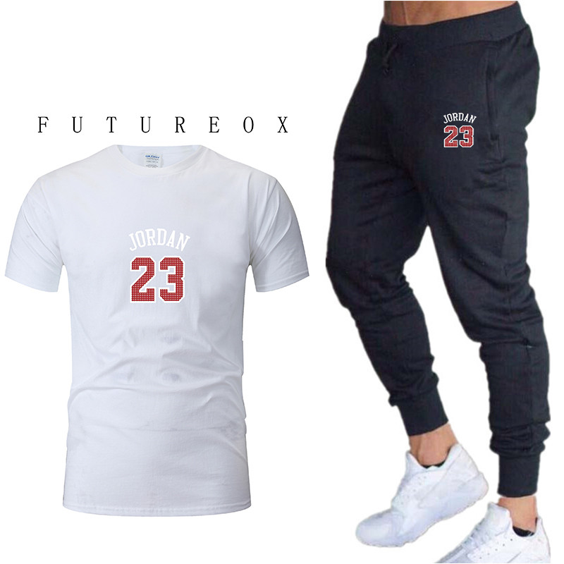 2020 Men's New Sportswear Two-piece Short-sleeved Shirt + Pants Sweatshirt Spring And Summer Sportswear New Brand Clothing Men's
