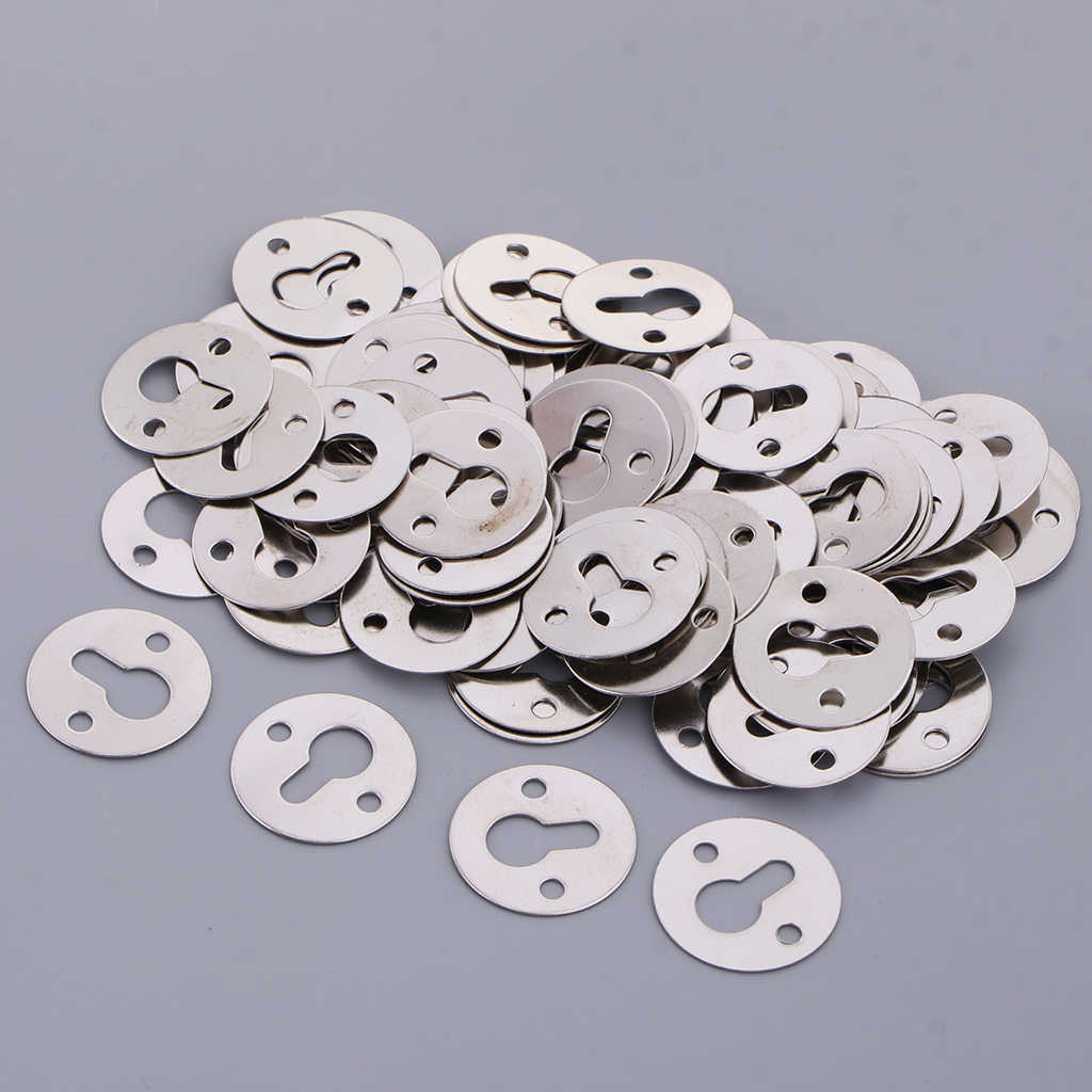 100x Keyhole Hanger Round Metal Recessed Insert Plates/ Picture Photo Frame/Mirror Frame Flush Fittings