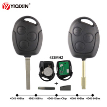 YIQIXIN 3 Button Remote Car Key For Ford Focus 2 Fiesta Transit Mondeo Fusion Galaxy Transit 433Mhz 4D60 4D63 40 80 Bits Chip
