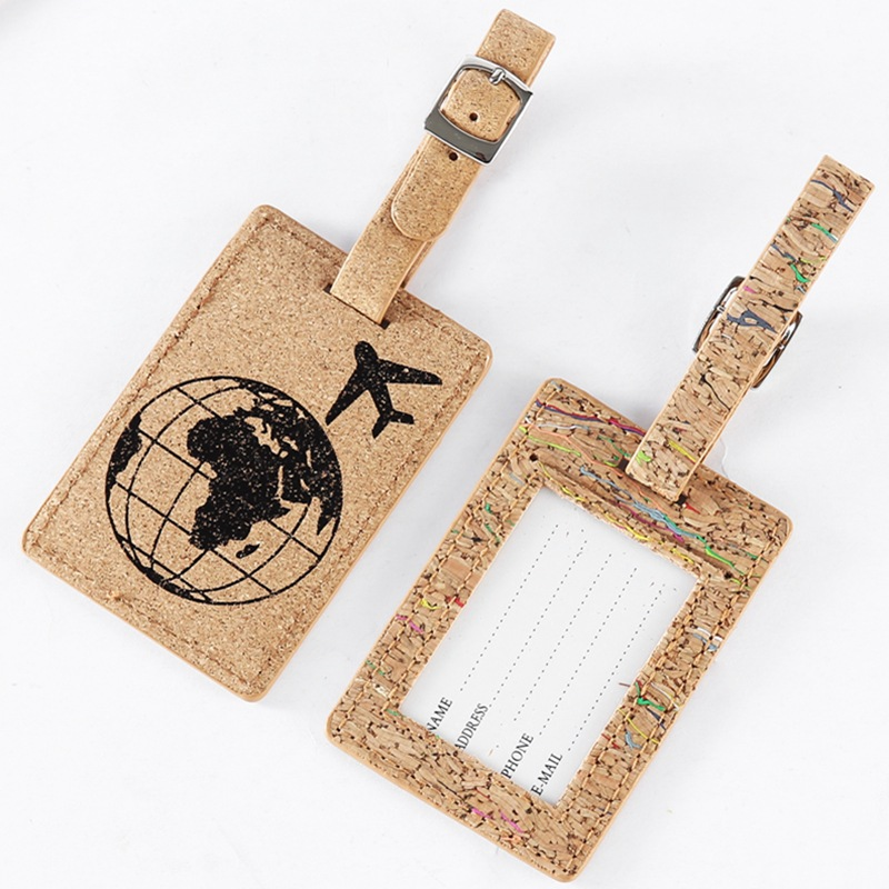 New Earth Suitcase Wood Color PU Leather Luggage Tags Label Bag Pendant Handbag Travel Accessories Name ID Address Tags