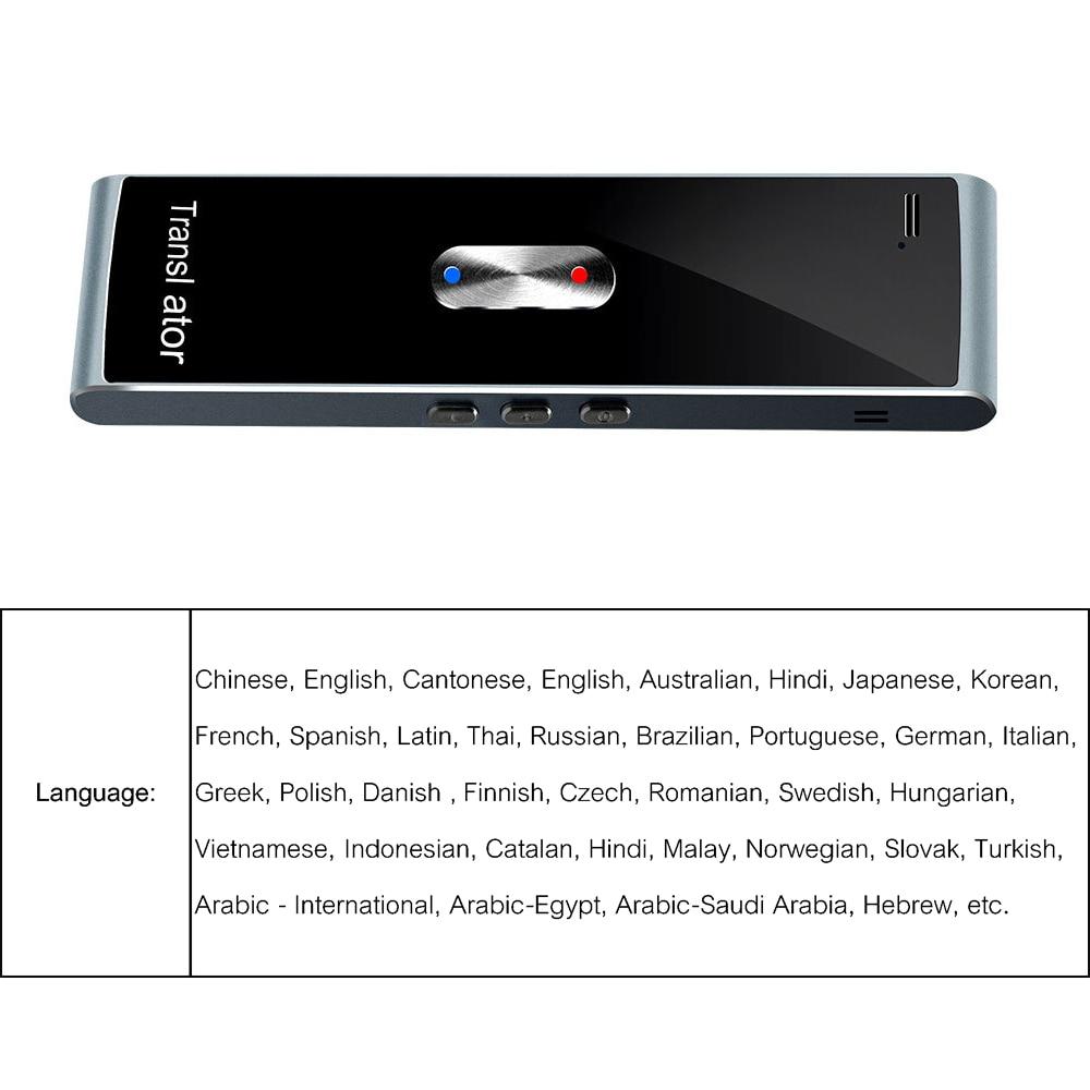 Многофункциональный Умный переводчик черный для изучения языка путешествия встречи портативный голосовой ТЕКСТ Аудио переводчик для бизнеса