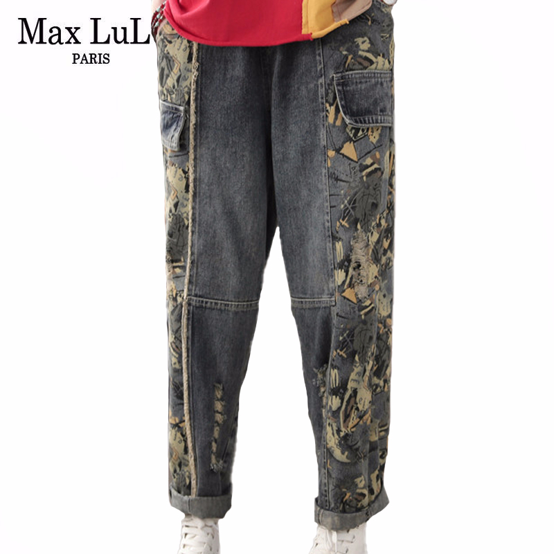 Max LuLu New 2020 Spring Korean Fashion Ladies Printed Denim Trousers Womens Elastic Ripped Jeans Patchwork Vintage Harem Pants