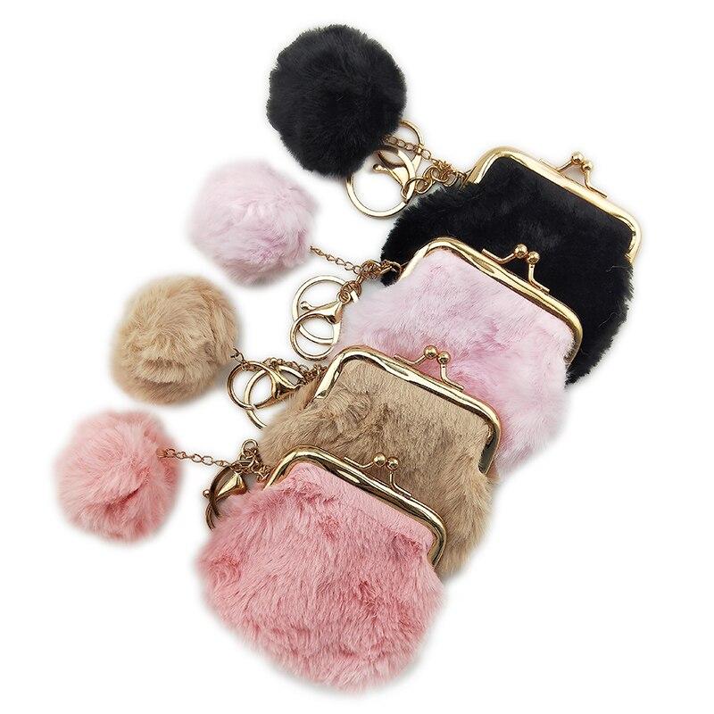 BELLO TUTTI 2019New Women Winter Mini Coin Purse Female Small Clutch Money Bag Metal Farme Plush Pouch Girl Holder Change Wallet