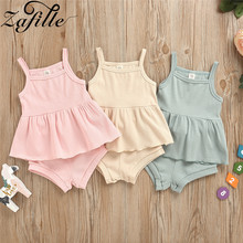 ZAFILLE Summer Baby Girl Clothes 2Pcs Solid Toddler Outfits Set Cotton Kids Clothes Girls Clothing Sleeveless Baby Suits 2020 wool teen kids clothing set autumn winter children clothing set sleeveless dress cape coats 2 pcs clothes suits girl outfits