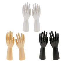 1 Pair of Male Man Mannequin Hand Jewelry Bracelet Gloves Rings Display Model Stand Tool Black / Skin / White(China)