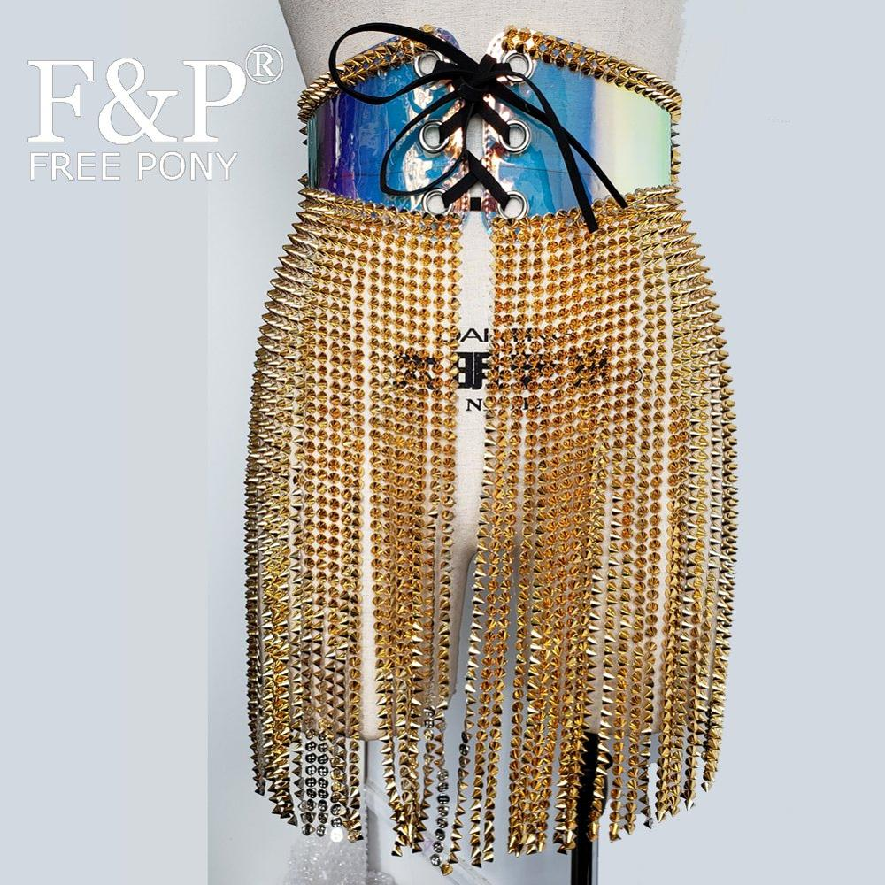 Burning Man Festival Holographic Cincher Spike Fringe Skirt Rave Bottom Carnival Costume Gogo Pole Dance Wear Clothing