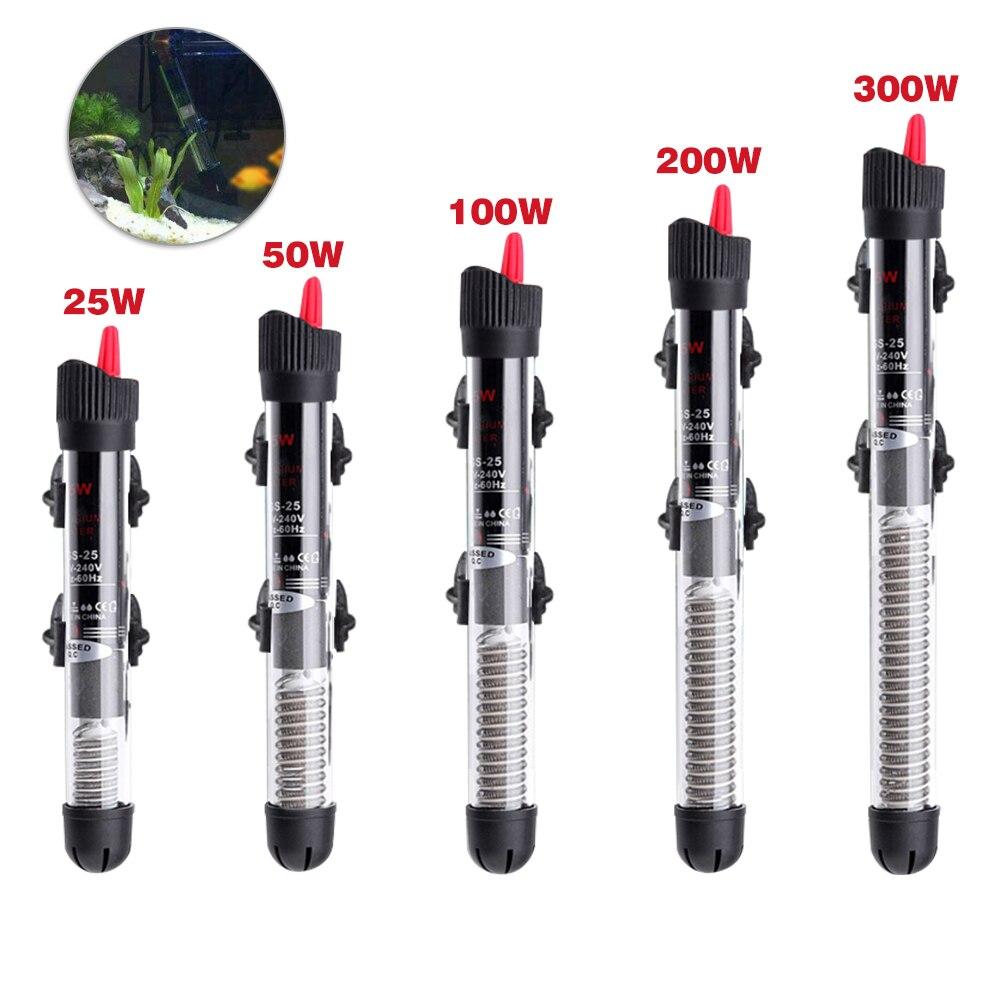 Automatic Water Heater Constant 25W/50W/100W/200W/300W Aquarium Submersible Fish Tank Temperature Heating Rod EU Plug