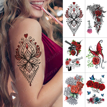 Temporary-Tattoo-Sticker Flash-Tattoos Flower Rose Arm-Water-Transfer Body-Art Fake Tatoo