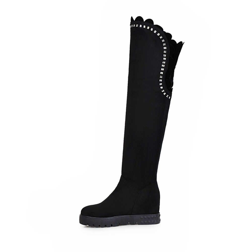 DORATASIA 34-43 חם פרווה מעל הברך נייט מגפי גבירותיי אלגנטי לקשט ירך גבוהה מגפי נשים 2019 עקבים גבוהים נעלי אישה