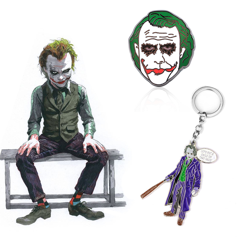 DC Batman Joker Cosplay Brooch Keychain Halloween Heath Ledger Metal Dripping Oil Badge Key Ring Keyring Prop