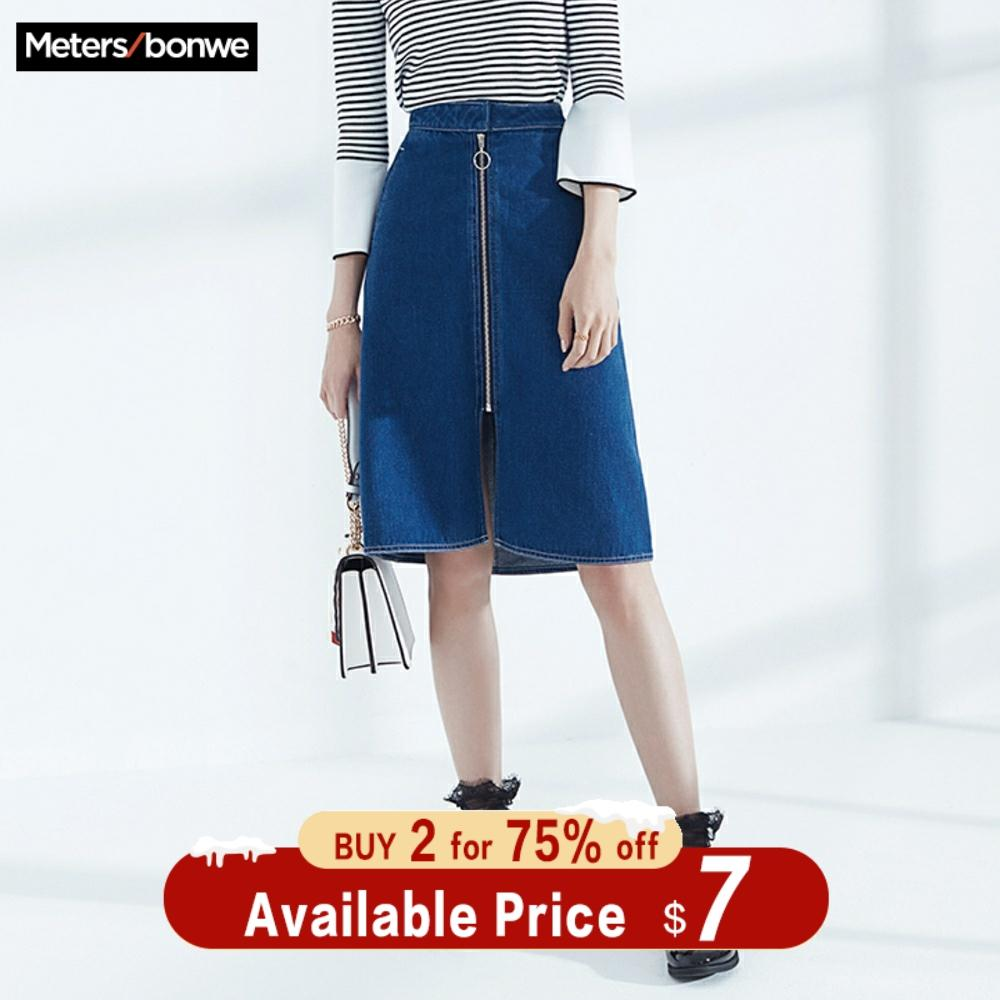 MetersBonwe Zipper Mid-length Denim Skirt 2019 Plus Size New Fashion Summer Knee-Length Women Blue High Waist Casual Skirt
