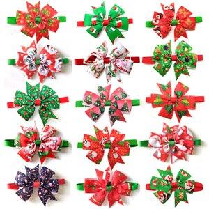 Image 1 - 50pcs חתולי כלב חג המולד חיית מחמד כלבים Bowtie צווארון חג קישוט Acciessories חג מולד טיפוח לחיות מחמד אספקת 12 צבע