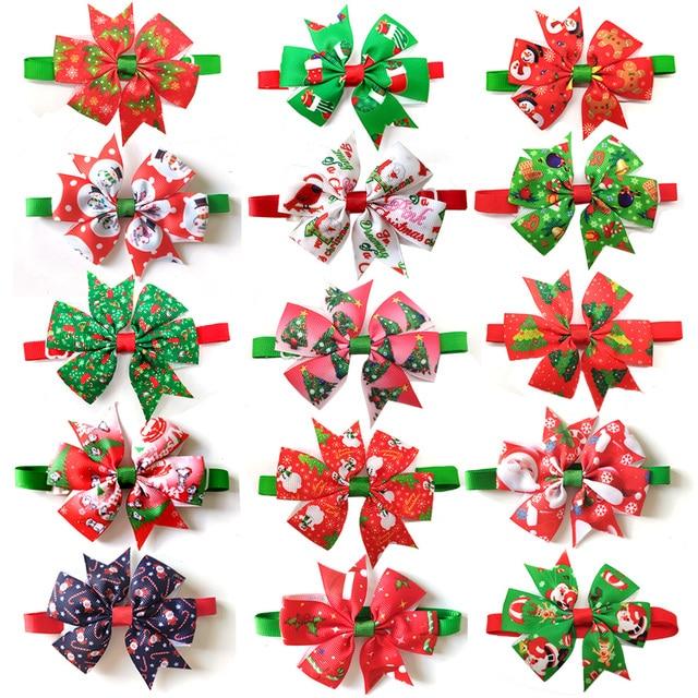 50pcs חתולי כלב חג המולד חיית מחמד כלבים Bowtie צווארון חג קישוט Acciessories חג מולד טיפוח לחיות מחמד אספקת 12 צבע