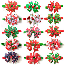 50pcs Cats Dog Christmas Bow Tie Pet Dogs Bowtie Collar Holiday Decoration Accie