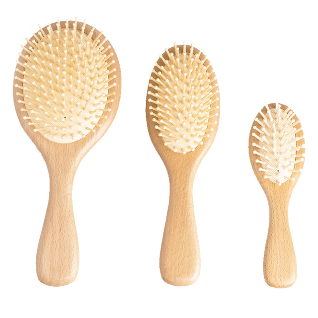 Wooden Paddle Hair Brush, Bamboo Bristles Detangling Hairbrush For Women Men and Kids 3 In 5