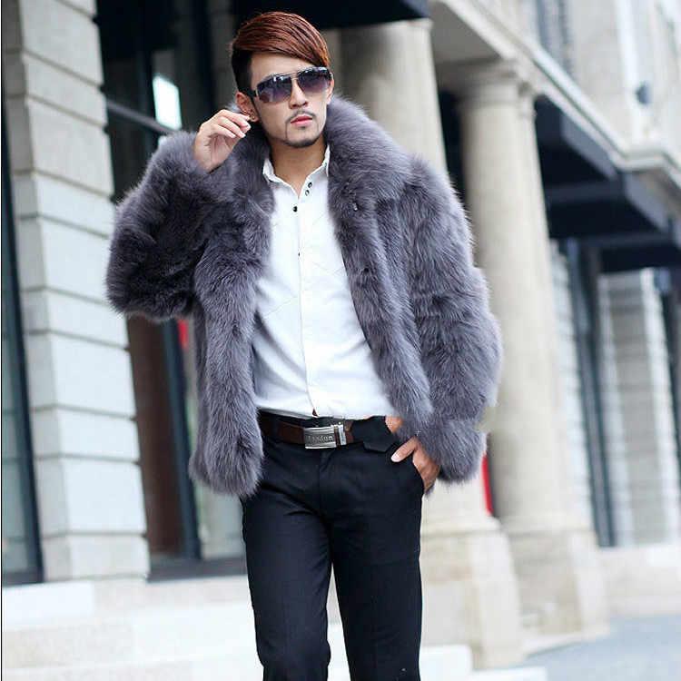 Faux Fox Fur Coat Men Clothes 2020 Winter Jacket Men Coats Fashion Streetwear Furry Mens Fur Jacket Manteau Homme KJ974