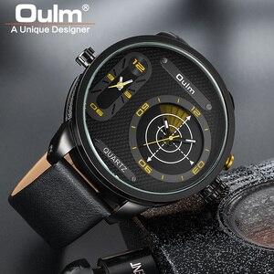 Image 4 - Oulm Модные Стильные мужские часы большого размера со светодиодом, роскошные Брендовые мужские кварцевые часы с двумя часовыми поясами, мужские кожаные Наручные часы