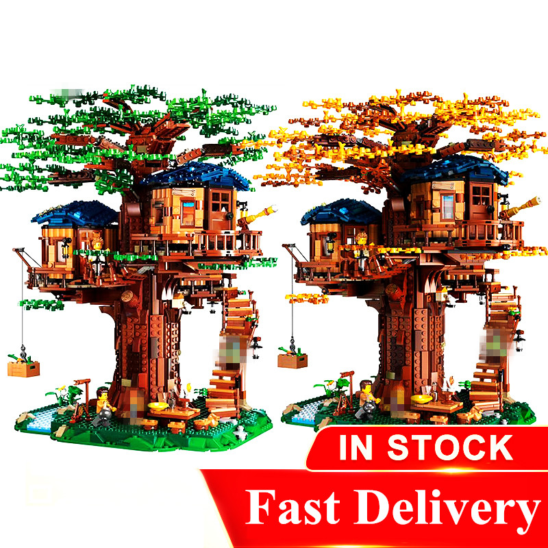 In Stock lepinged 21137 21318 My World Tree House Toddlers Iron Golem Kids Toys Mountain Cave Building Blocks Brick(China)
