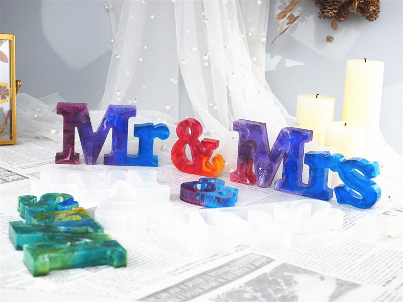 3 шт г н и миссис смолы формы силиконовые слово знак эпоксидной