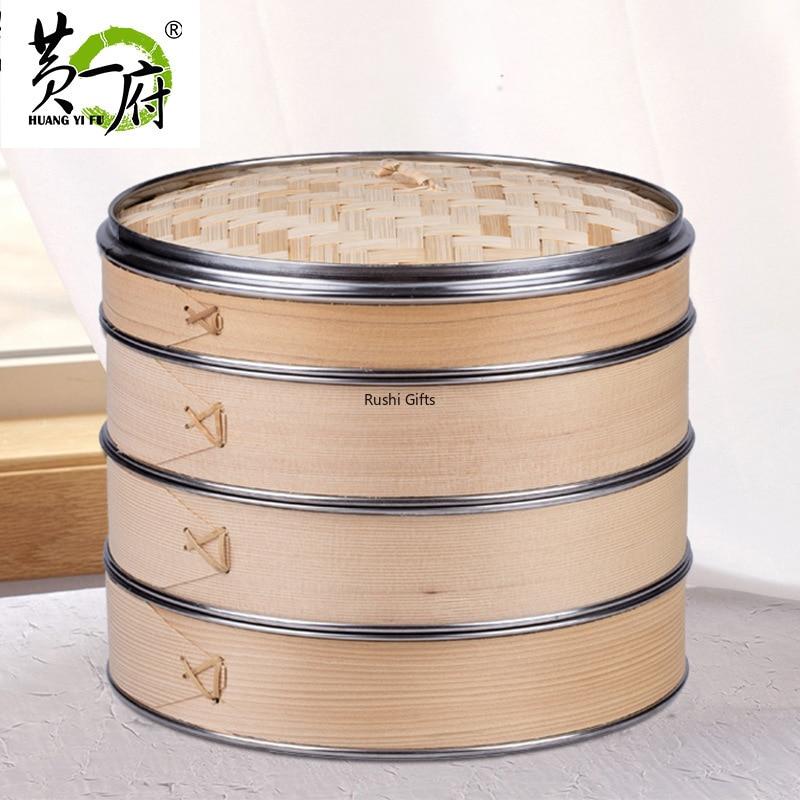 Stainless Steel Edging Bamboo Steamer Dim Sum Dishes Fish Steamer Rack Instant Pot Steamer Basket Wooden Steamed Buns Cookware