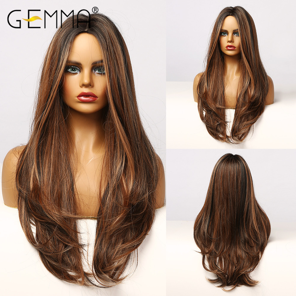 GEMMA Natural Middle Part Synthetic Wigs for Black Women Long Wavy Hair Cosplay Black Brown Golden Highlight Wig Heat Resistant