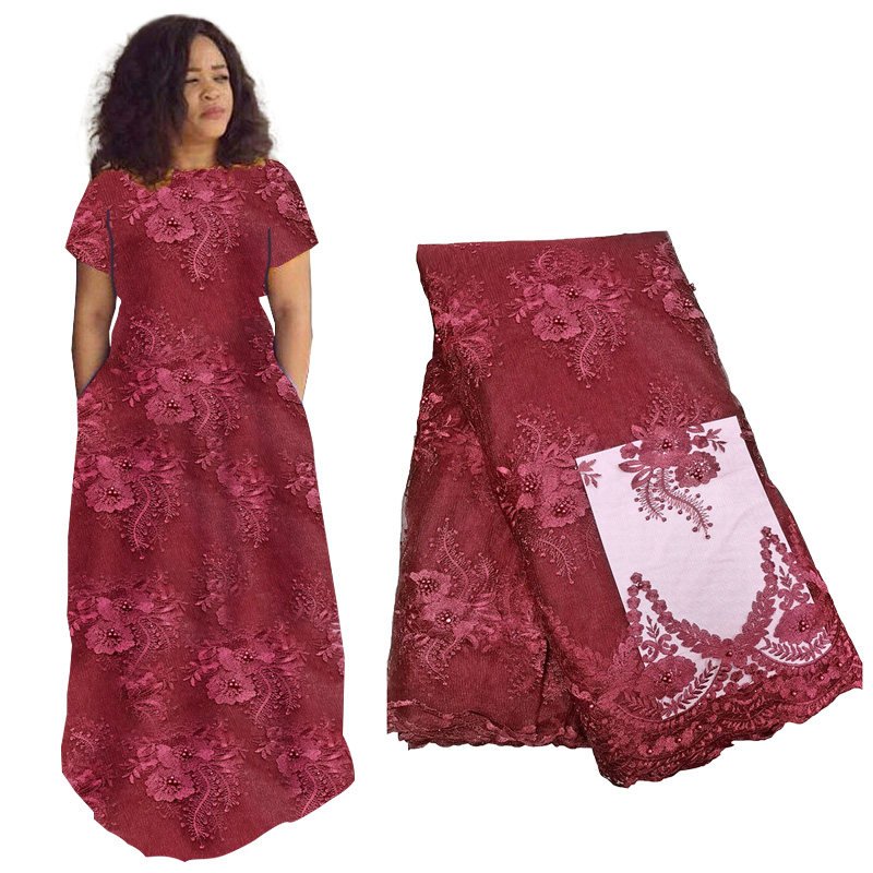 Best Selling African Lace Fabric 2019 High Quality  French Beaded Lace Fabric Nigerian Tulle Mesh Lace Fabrics