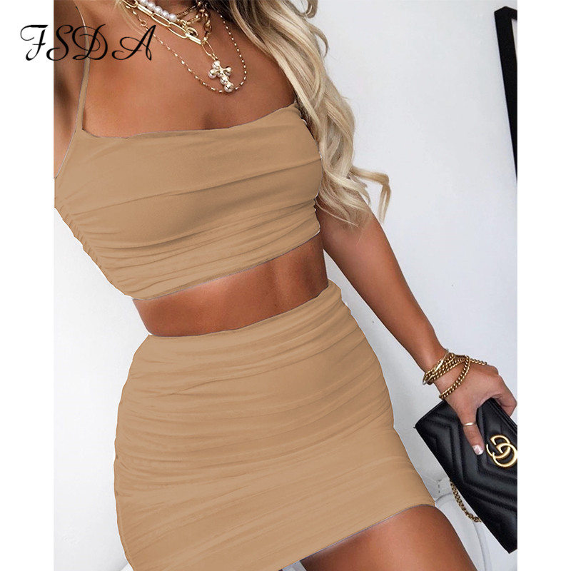FSDA 2020 Summer White Women Set Sexy Spaghetti Strap Crop Top Black And Mini Bodycon Skirt Party Outfit Clubwear Two Piece Sets