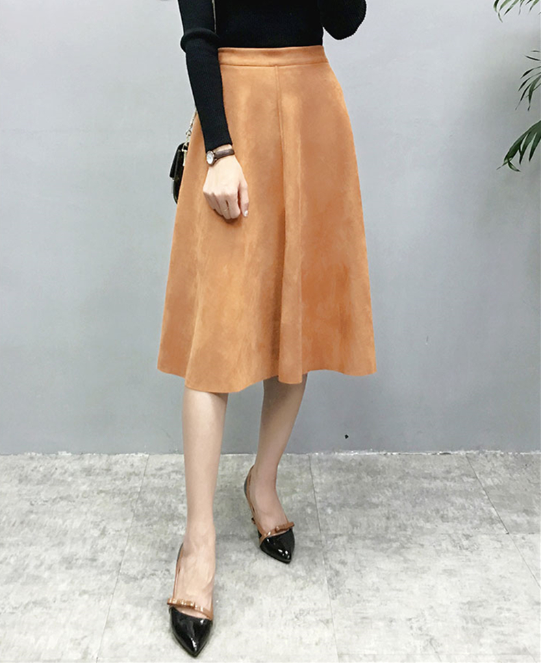 H4f3d1a876e7e4ef5a0b6c59e794fa945d - Neophil Women Suede High Waist Midi Skirt Summer Vintage Style Elastic Ladies A Line Black Green Flare Fashion Skirt  S29A4