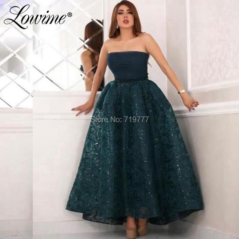 Longueur cheville vert foncé robe de soirée robe de bal arabe robe de bal 2019 Abendkleider bretelles Dubai robes de soirée