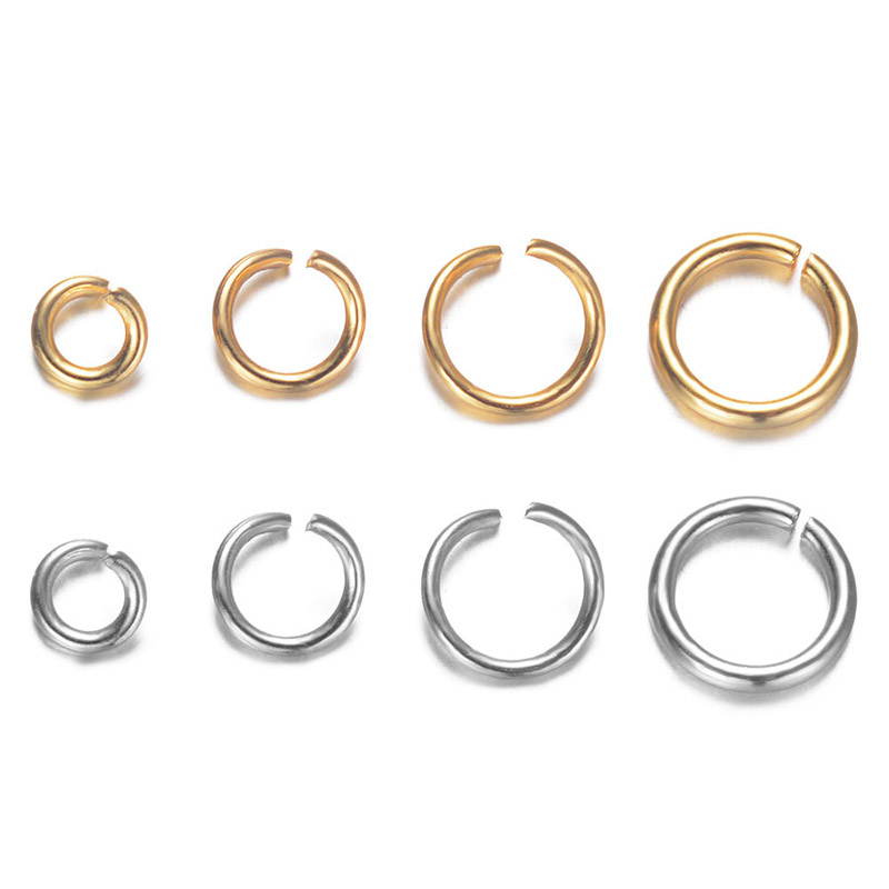 100PCs Stainless Steel Circle Rings Gold Plated Jewelry Findings 6mm