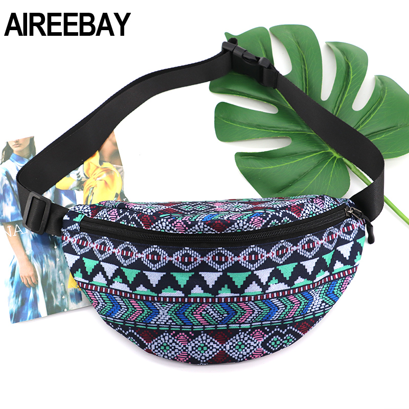 AIREEBAY 2020 NEW Summer Women Fanny Pack Bohemian Style Waist Packs Ladies Big Belt Bag Vintage Printed Travel Phone Pouch