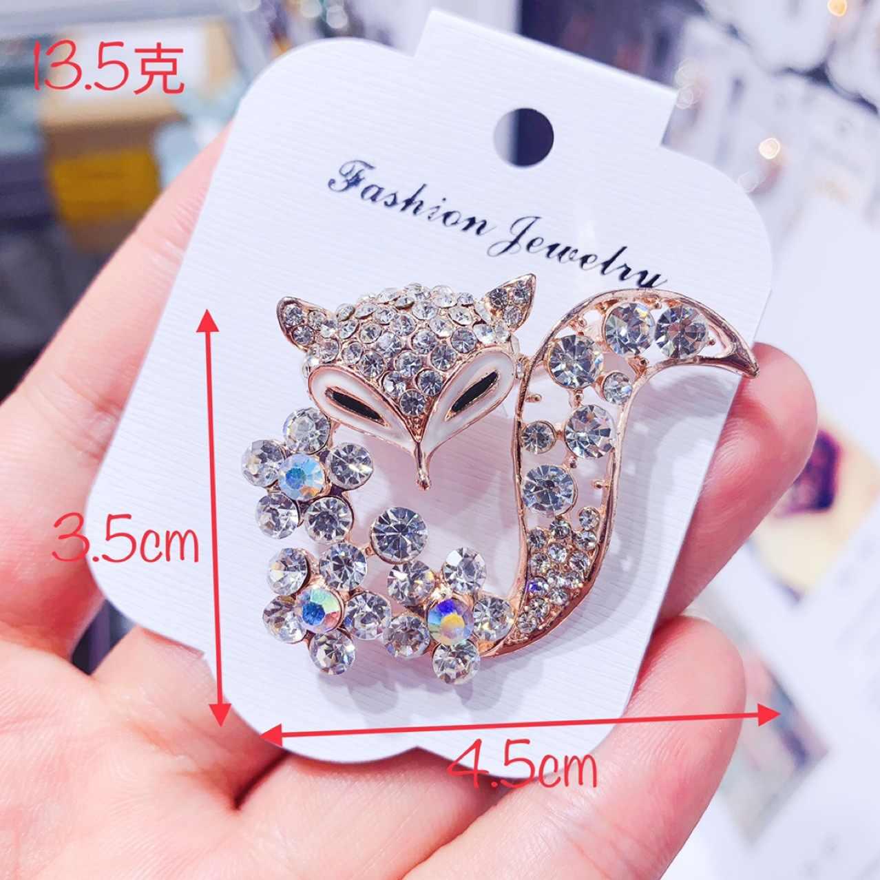 Versi Korea Zircon Fox Hewan Bros Pin untuk Wanita Fashion Sweter Mantel Topi Syal Pakaian Aksesoris Mewah Perjamuan Perhiasan
