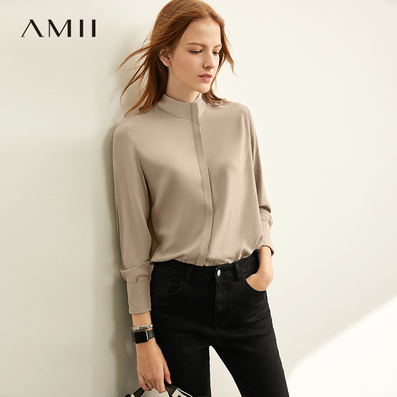 Amii Minimalism Causal Solid Shirt Women Spring Olstyle Lapel Full Sleeves Blouse 11920167