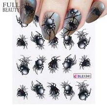 1 blatt Spinne Poker Designs Nagel Aufkleber Wasser Transfer Slider Abziehbilder DIY Nail art Dekoration für Maniküre Wasserzeichen CHBLE1341