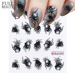 1 Sheet Spider Poker Designs Nail Sticker Water Transfer Slider Decals DIY Nail Art Decoration for Manicure Watermark CHBLE1341