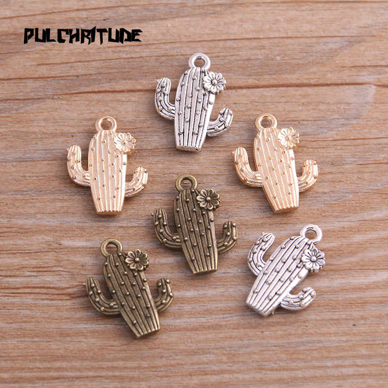 PULCHRITUDE 10pcs 15*20mm Three Color Metal Zinc Alloy Cactus Charms Fit Jewelry Medical Plant Pendant Charms Makings
