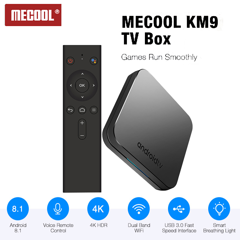 <font><b>MECOOL</b></font> <font><b>KM9</b></font> <font><b>Android</b></font> 8.1 Smart <font><b>TV</b></font> <font><b>Box</b></font> Voice Remote 4GB 32GB Amlogic <font><b>S905X2</b></font> Set Top <font><b>Box</b></font> 2.4G/5G WiFi BT 4.1 4K H.265 Media Player image