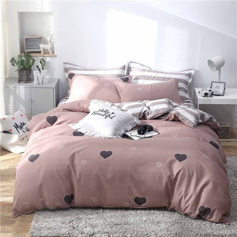 Deer Tropical Leaf 4pcs Bed Cover Set Cartoon Duvet Cover Child Adult Bed Sheets And Pillowcases Comforter Bedding Set 61001