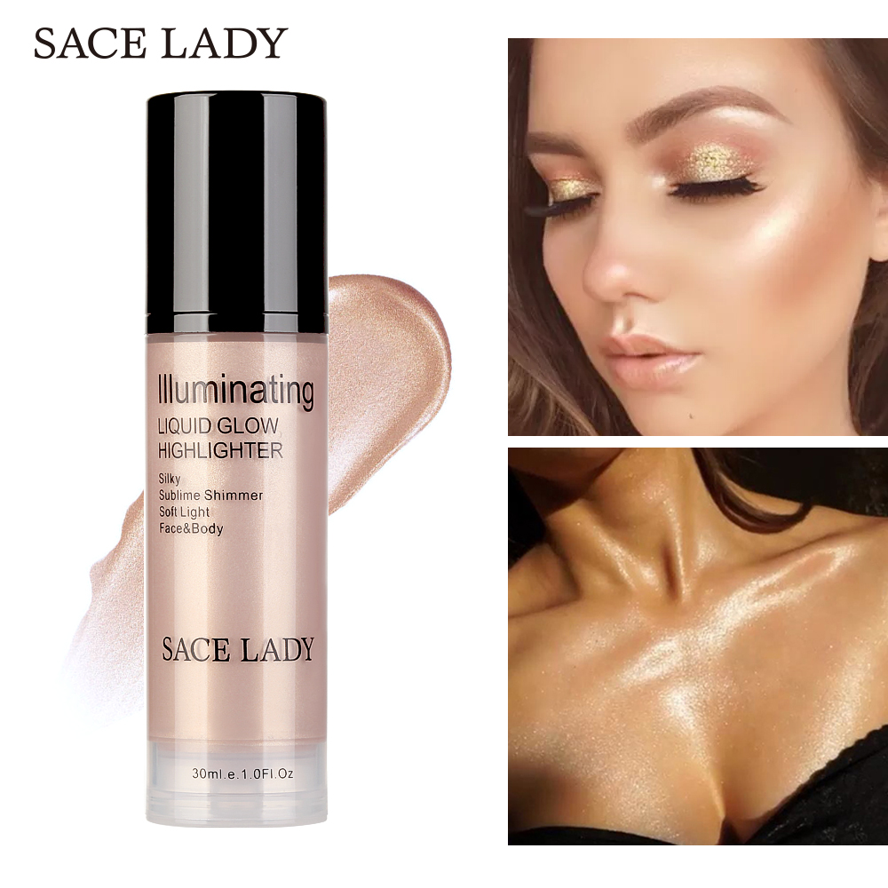 SACE LADY Illuminator Makeup Highlighter Shimmer Waterproof Glitter Brighten Liquid Professional