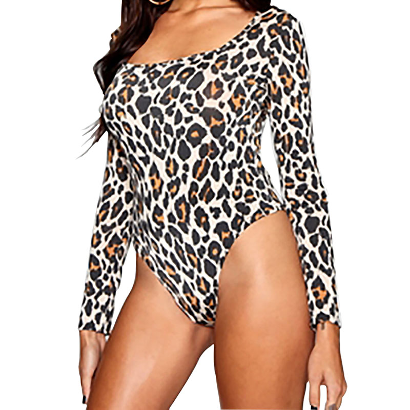 Leopard Bodysuit for Women Sexy Bodycon Square Neckline Skinny Body Suit Long Sleeve Playsuit Zebra Printed Romper Jumpsuits