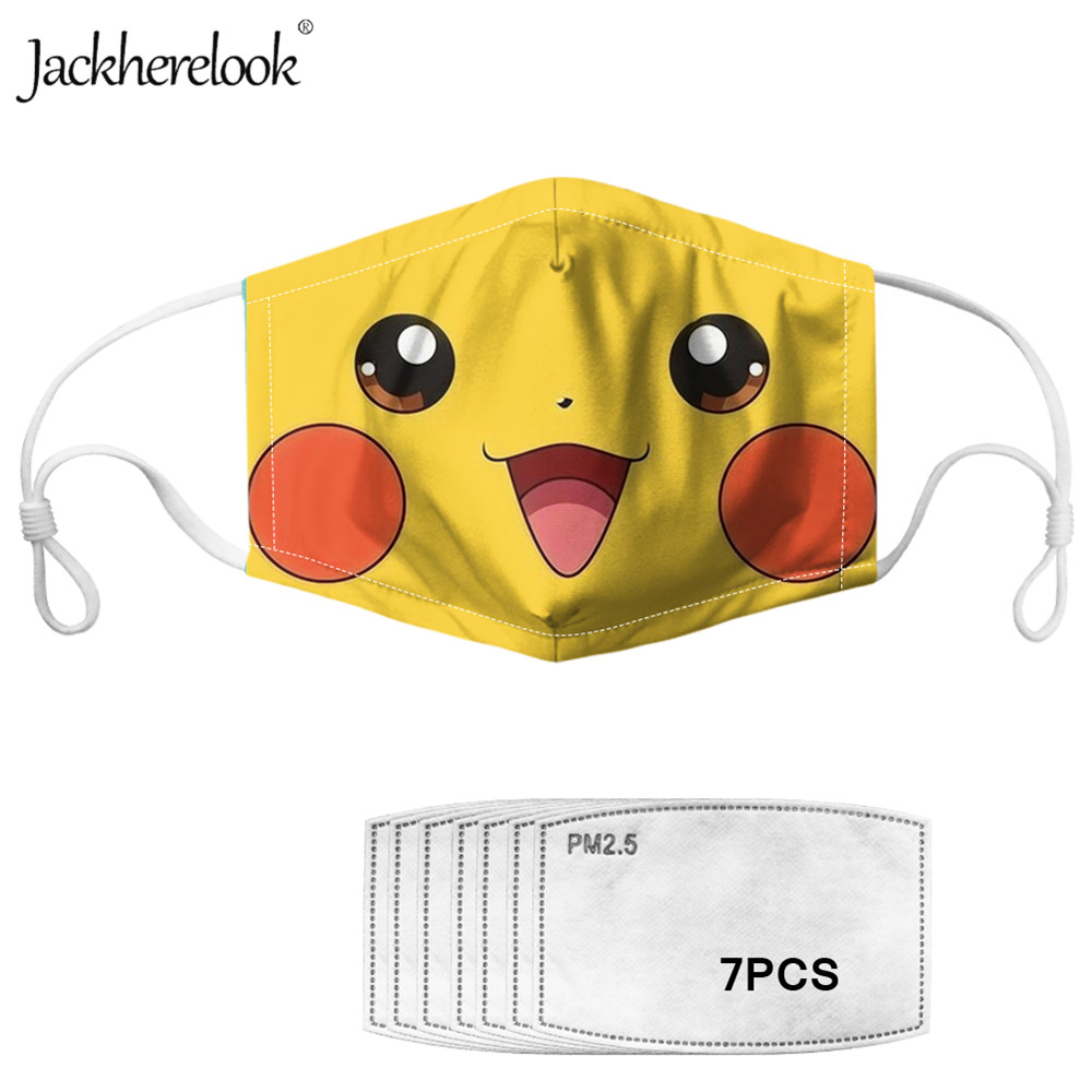 Jackherelook Pokemon Kids Mask Dust Detective Pikachu Anime Print Reusable Mouth Face Masks Prevent Bacteria Filters Mascaras