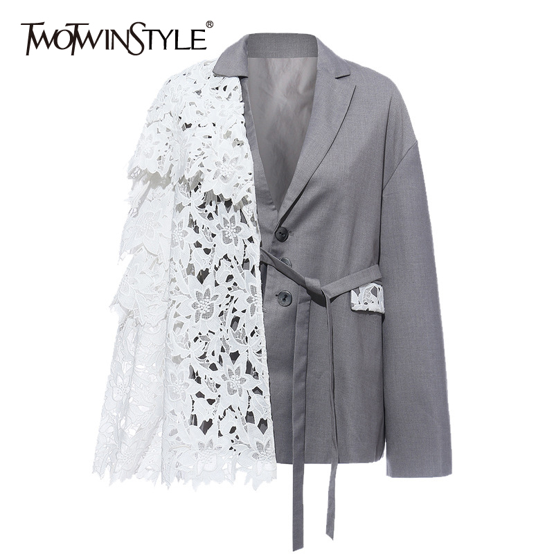 TWOTWINSTYLE Patchwork Lace Up Women Blazer Notched Long Sleeve Lace Up Hit Color Hollow Out Suit Female Fashion Clothing Tide