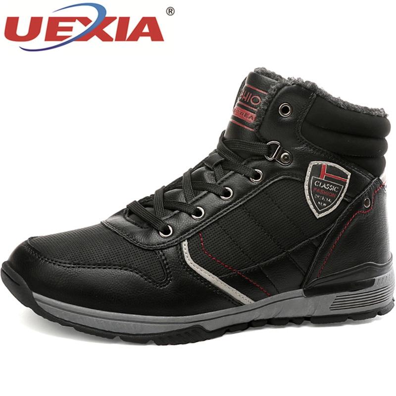 UEXIA Male Shoes Boots Men 2019 Winter Warm Plush Fur Snow Warm Non-slip Men Lace-Up Suede Leather Sneakers Non-slip Botas Shoes