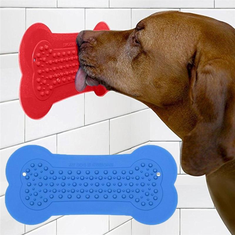 Bone Shaped Pet Fixing Sucker Bowl Dog Feeders Lick Pad For Dog Training Dish Bathing Assist Device Dog Food Bowl Pet Supplies