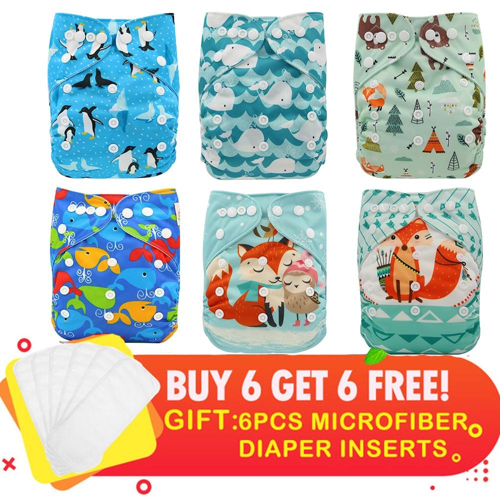 Ohbabyka Suede Cloth Diapers Unicorn Animals Flowers Print Pocket Diapers 6Pack+6pcs 3 Layers Microfiber Inserts Newborn Diaper