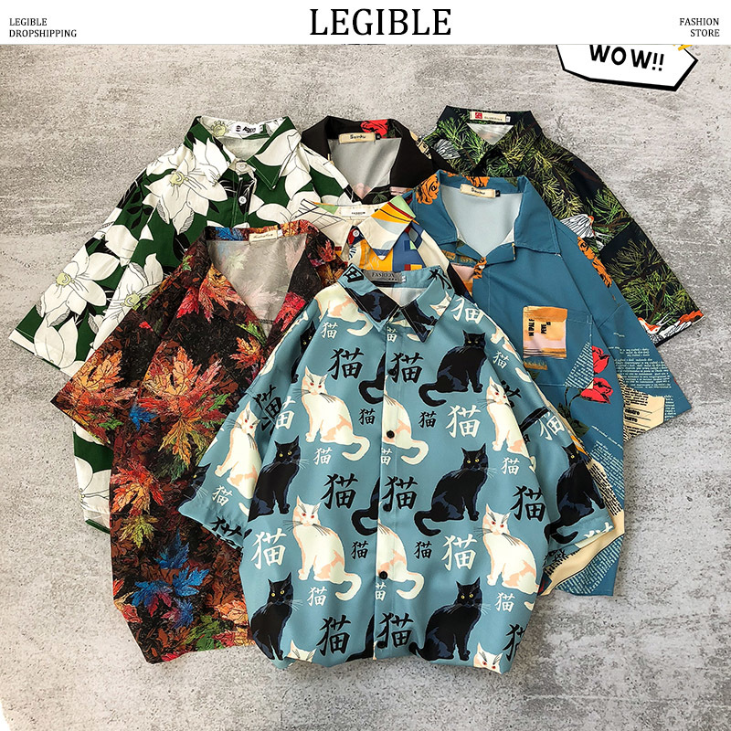 LEGIBLE Printing Shirt Men 2020 Men Korean Fashion Short Sleeve Shirt Male Hawaiian Shirts Casual Loose Clothes Men Oversize