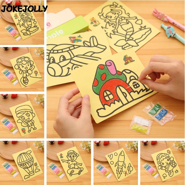 10pcs/lot Children Kids Drawing Toys Sand Painting Pictures Kid DIY Crafts Education Toy For Boys And Girls GYH