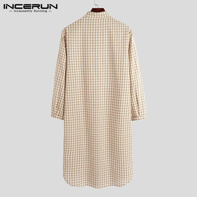Hommes Plaid Robes loisirs Homewear col montant doux à manches longues robe de nuit confortable hommes peignoirs vêtements de nuit 5XL INCERUN 7